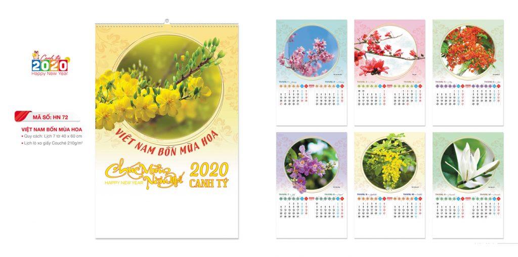 Mẫu lịch lò xo 7 tờ 2020 chủ đề VIỆT NAM BỐN MÙA HOA